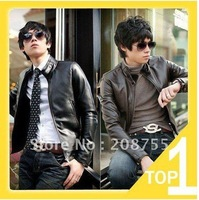 men'sleather jacket Korean catwalks shall Slim leather jacket PU (black, brown)