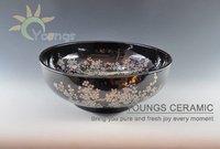 Well Polished Art Counter Top Black Ceramic Porcelain Bathroom Wash Basin