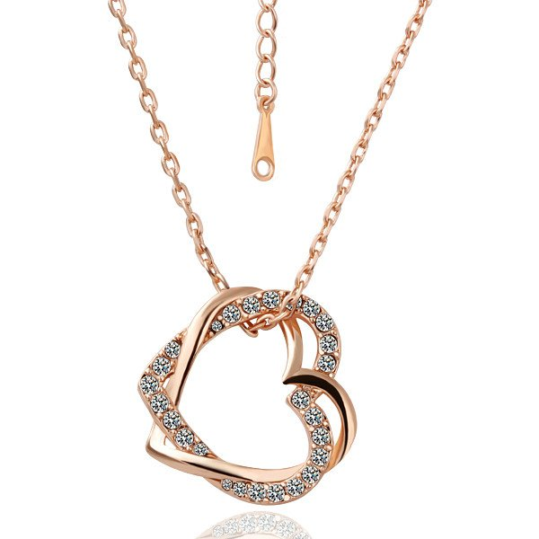 18KGP N007 Double Hearts Fashion Jewelry 18K Gold Plated Plating Necklace Nickel Free Rhinestone Pendant