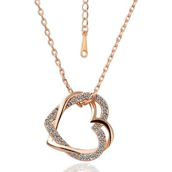 18KGP N007 Double Hearts Fashion Jewelry 18K Gold Plated Plating Necklace Nickel Free Rhinestone Pendant Crystal SWA Elements