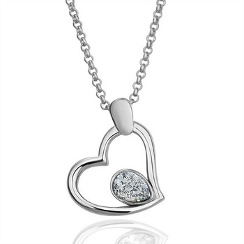 18KGP N070 Heart With Clear Crystal Fashion jewelry,18K White Gold plated necklace,nickel free ,crystal