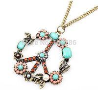 12pcs Free shipping Retro color Beads peace symbol necklace colorful Beads peace symbol sweater chain