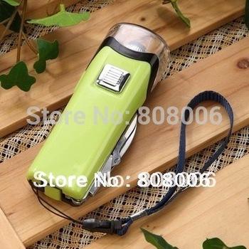 Free Shipping Wholesale Hand Crank USB LED Flashlight Multi-functional Flashlight