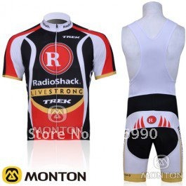 free shipping!2011 RadioShack team short sleeve cycling jersey and black bib shorts,bike jersey/bicycle jersey bib short suit