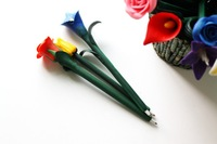 Fast Free Shipping Hot sale Originality Flower Stationery Soft Rose Ball Pen Ballpoint Pen Best Gift 100pcs/lot Wholesale