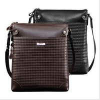 Leather male man shoulder gadget bag with free shipping