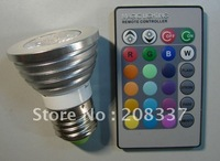 FREE SHIPPING Colorful LED light bult 3pcs/lot WHOLESALE PRICE