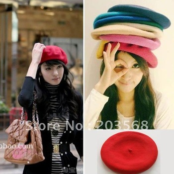 D19+Fashion Wool Warm Women Felt French Beret Beanie Newsboy Berets Hat Cap Tam Hot