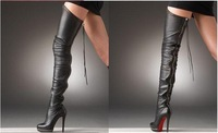 New fashion sexy Hot real leather with zipper Women's shoes Women's Knee-High boots free ship in high quality