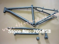 Sandblasted Tianium MTB Frame and Parts( Frame + Handlebar + Headset+ Seatpost + Seatclamp + Stem )(Bending Down Tube)