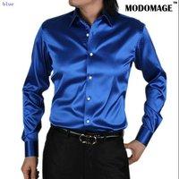 2011 new style men's casual fashion Silk long sleeve shirt Silk shirt color blue