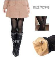 hot!! False through flesh silk feeling Bao Rui silk Double thick warm Leggings / nine Pants / trousers boots (perspective mesh)