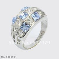 1Pcs/lOT,Free shipping, Christmas gift 18K Gold Crystal Fashion Zircon Ring Sz7 8