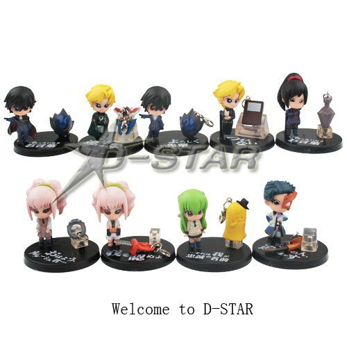 """Free Shipping Cute 1.5"""" Stylish Code Geass Anime Character Solid Mini Boxed PVC Figures Collection Model Toy Gift (9pcs per set)(China (Mainland))"""
