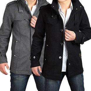 Big Wool Coat Mens Jacket Winter Outerwear Trench Coat Double ...
