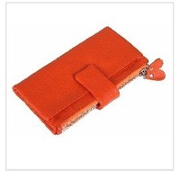 2011 NEW! orange 100% GENUINE LEATHER women&men's long wallets,2 money places,12 card places,2 zipper coin purses