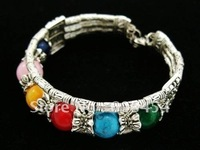 Wholesale Cheap Tibetan Jewelry Silver Multicolor Gem Colorful Bracelet/ Free Shiping 1Pcs
