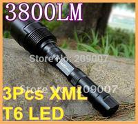 3800 Lumens CREE T6 3*T6 LED Flashlight Torch Lamp+2x 18650 2400mAh Battery + charger