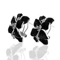Beauty Flower 18K Gold Earrings Setting With Crystals&Rhinestones,Black Earring Jackets, Free shippingLKN017