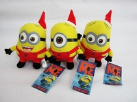 Wholesale - 30 Pcs/lot Freeshipping Christmas Plush Toy Despicable Me 3D Eyes Minions 7'' Dolls Stuffed Animals