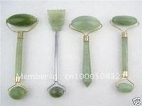 wholesale 4PCS Natural green jade Health massage head neck face foot roller tool set