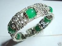 Wholesale Charming Tibet Silver Natural Green Jade bead Bracelet  / Free Shiping 1Pcs
