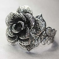 Wholesale Exquisite Tibet silver antique style flower adjustable cuff bracelet / Free Shiping 1Pcs