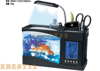 30% OFF NEW USB Desk mini aquarium, mini fish tank with calender & pen holder With pumming to auto cycling water for gift