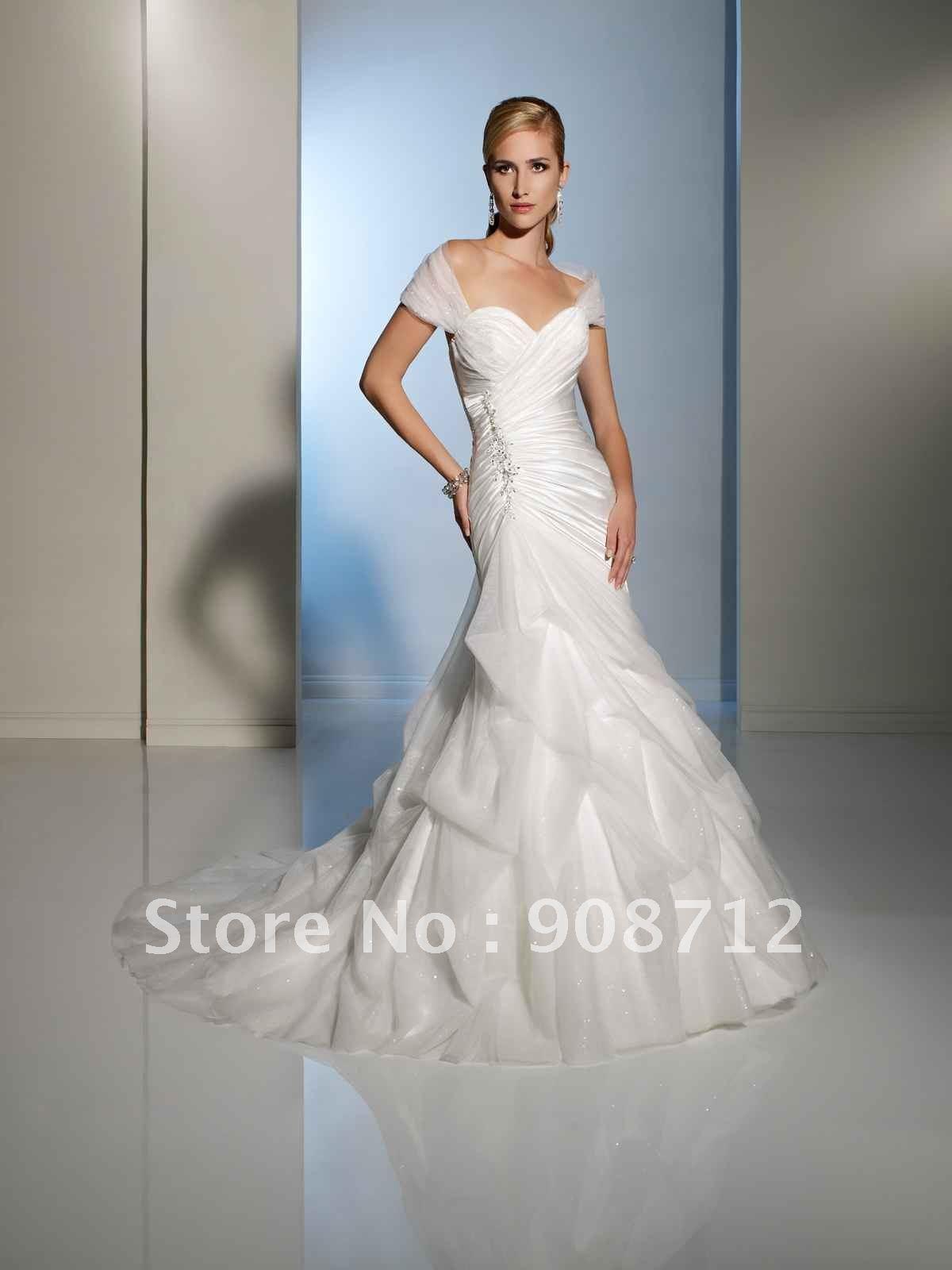 2013 style satin and diamond tulle slim A line wedding