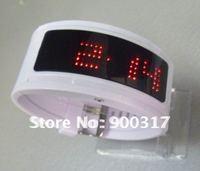 Lastest 125 led light fashion Luxury braclet LED watch Bracelet Circle led digital watch with plastic band 6pcs/lot