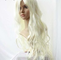 2012 New long Platinum Blonde Cosplay Party Curly Wig  Wigs  free shipping