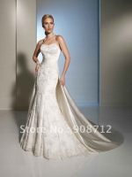 designer style ! stunning lace mermaid wedding gowns 2013 detachable satin chapel length train over a sweep train