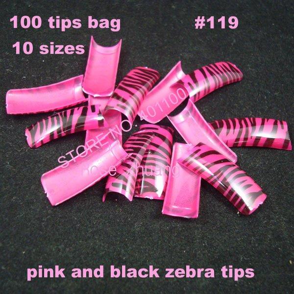 100x pink and black zebra airbrush pre design nail tips designer false nail art tips acrylic nails fake tips SKU:A0072(China (Mainland))