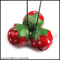 15pcs/lot New Christmas Ornament Copper Red Strawberry Jingle Bells Fit Festival/Party/Pet's Decoration 270065