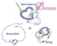Free Shipping & Gift Bag,Hotselling Crystal Double Heart Jewelry Set 6 colors Necklace+Bracelet+Ring ,NO.4022