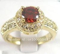 Natural 1.15ct Garnet In 14k Solid Yellow Gold Ring Diamand Rings