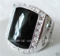 Cool man's Natural Black Agate 14k Solid white Gold Ring Diamand Rings