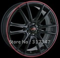 car Alloy wheel rims 16X7 4-100/114.3 +40mm 67.1mm C10477 BLACK W/ RED RING