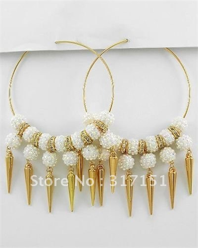 Wholesale - Basketball Wives Earrings Ab Charm Pop Hoops Shambala Beads 12pcs/lot(China (Mainland))