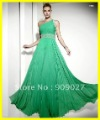 2012 New Style One Shoulder Green Chiffon Beading Draped Ruched Designer Evening Dresses Prom Gowns Party Dress