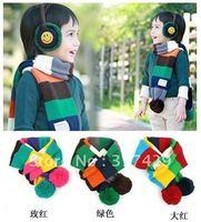 hot sales!!free shipping Striped Nagymaros ball warm scarf / child Winter Scarf