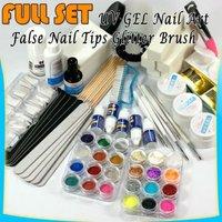 FULL SET UV GEL Nail Art False Nail Tips Glitter Brush Tools Kit #218
