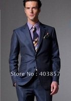Western Style Suit   Popular Men Suit Custom Made Suit Blue With Medium Stripes Suit Men Clothes MS0242