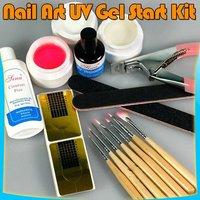 NEW NAIL ART UV GEL STARTER KIT BRUSH TOOLS SET 27#