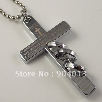 10pcs free shipping Stainless Steel Cross Pendant Stainless Steel Necklace With Chain cross necklace fashion necklace