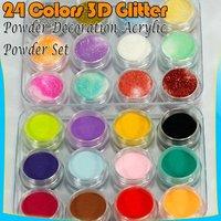 24 Acrylic Glitter Nail Art Tips Extension Pure Powder Set 31#