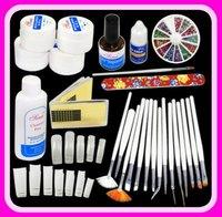 UV Nail Art Kit UV Gel Rhineston Glue Tips + 15 pcs Painting Brush Gift Set 32#