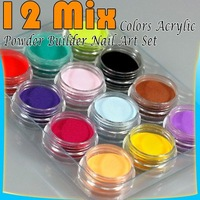 12 Mix Colors Acrylic Powder Builder Nail Art Set 37#
