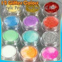 12x Acrylic Nail Art Tips Extension Glitter Powder 40#