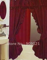Sale Promotion! High quality & More Luxury Double Swags Shower Curtain Charming Wine Red